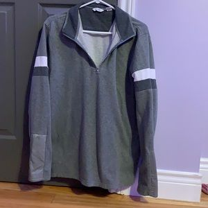 Grey Calvin Klein sweater, quarter zip down